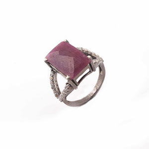 1 PC Beautiful  Diamond With Ruby Ring - 925 sterling silver-Square Shape Diamond Ring-Handmade Jewelry -Size:7.5 SJRD035
