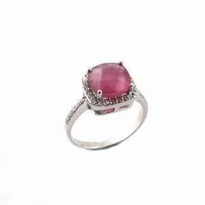 1 PC Pave Diamond With Ruby Ring - 925 Sterling Silver- Diamond Ring-Women Jewelry--Size:8 SJRD016
