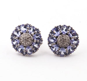 1 Pair Antique Finish Pave Diamond Tanzanite Designer Round Stud Earring with Back Stopper - 925 Sterling Silver - 14mm ED398