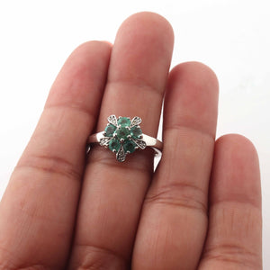 1 PC Pave Diamond With Emerald Beautiful Designer Ring - 925 Sterling Silver- Flower Design Ring- Ring Size: 8 SJRD029