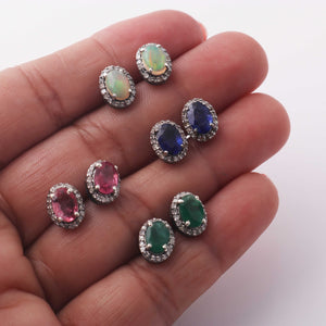1 Pair Antique Finish Pave Diamond Emerald / Kyanite / Ruby / Opal  Designer Oval Stud Earring with Back Stopper - 925 Sterling Silver - 10mmx7mm ED451