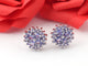 1 Pair Antique Finish  Tanzanite Designer Stud Earring with Back Stopper - 925 Sterling Silver - 15mm ED394