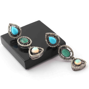 1 Pair Pave Diamond Emerald,Opal,Turquoise Earring - Pave Diamond Earrings - 925 Sterling Silver-38mmx11mm ED065