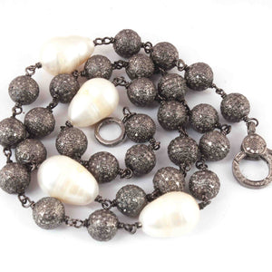 Pave Diamond balls with Pearl  Beaded Necklace - Necklace With Lobster - Long Knotted Beads Necklace - Diamond balls Necklace (Without Pendant) BN046