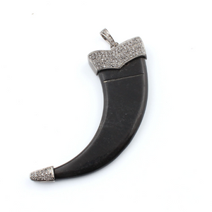 1 Pc White Topaz Buffalo Horn Claw 925 Sterling Silver Pendant - Black Horn Pendant 81mmx27mm PT260