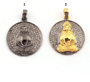 1 Pc Pave Diamond Round Shape Buddha Pendant - 925 Sterling Vermeil/Silver 29mmx25mm PD993