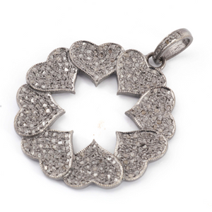 1 Pc Antique Finish Pave Diamond Heart Flower Pendant - 925 Sterling Silver- Necklace Pendant 39mmx36mm PD1555