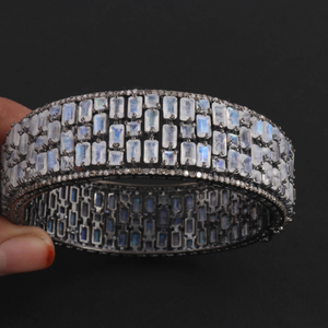 1 Pc Pave Diamond Excellent Designer Blue Flashy Rainbow Moonstone Bangle Bracelet - 925 Sterling Silver -Bangle With Lock -Size: 2.4 BD074
