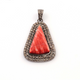 1 Pc Pave Diamond Genuine Rhodochrosite Triangle Shape Pendant Over 925 Sterling Silver 31mmx21mm PD069