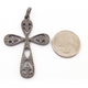 1 Pc Antique Finish Pave Diamond Designer Cross Pendant - 925 Sterling Silver- Necklace Pendant 54mmx37mm PD1449