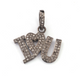 "1 Pc Antique Finish Pave Diamond Designer "" I Love You"" Pendant - 925 Sterling Silver- Necklace Pendant 20mmx24mm PD1486"