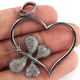 1 Pc Antique Finish Pave Diamond Heart Pendant - 925 Sterling Silver- Love Necklace Pendant 40mmx36mm PD1487