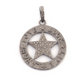 1 Pc Antique Finish Pave Diamond Designer Round Star Pendant - 925 Sterling Silver- Live,Laugh,Luck,Love Necklace Pendant 34mmx30mm PD1433