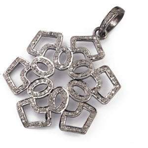 1 Pc Pave Diamond Flower Pendant Over 925 Sterling Silver -Designer Pendant 40mmx33mm PD1485