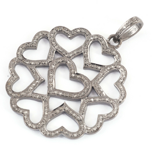 1 Pc Antique Finish Pave Diamond Heart Pendant - 925 Sterling Silver- Love Necklace Pendant 41mmx37mm PD1434