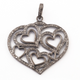 1 Pc Antique Finish Pave Diamond Heart Pendant - 925 Sterling Silver- Love Necklace Pendant 40mmx42mm PD1447