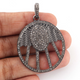 1 Pc Antique Finish Pave Diamond Designer Round Pendant -925 Sterling Silver -Necklace Pendant 40mmx33mm PD1548