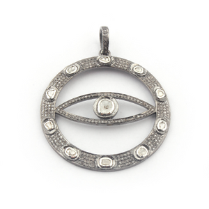 1 PC Pave Diamond Evil Eye With Rose Cut Diamond Round Pendant - 925 Sterling Silver 48mmx44mm PD751