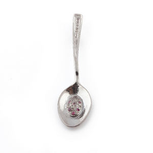 1 Pc Pave Diamond Tea Spoon With Black Spinel, Ruby, Black Sapphire Pendant Over 925 Sterling Silver & Vermeil 52mmx13mm PD531
