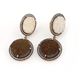 1 Pair Rhine Stone Mystic White & Brown Druzy Druzzy Drusy Earrings Over 925 Sterling Vermeil 24mmx17mm-26mmx23mm RS072