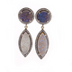 1 Pair Rhine Stone Mystic Blue & White Druzy Drusy Druzzy Earring Over 925 Sterling Vermeil 21mm-36mm RS071