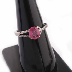 1 PC Beautiful Pave Diamond Ruby Ring - 925 Sterling Silver - Gemstone Ring Size -7.25 RD026