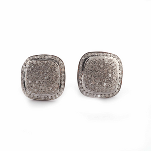 Antique finish Pave Diamond Square Designer Stud Earrings With Back Stoppers - 925 Sterling Silver 13mm ED024