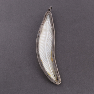 1 Pc Pave Diamond Mother of Pearl Feather Leaf Pendant - 925 Sterling Silver Leaf pendant 102mmx24mm PD813