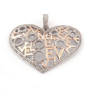 1 Pc Pave Diamond Two Tone Love- Heart Pendant - 925 Sterling Silver - Heart Pendant 36mmx47mm PD879