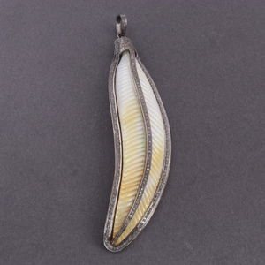 1 Pc Pave Diamond Mother of Pearl Feather Leaf Pendant - 925 Sterling Silver Leaf pendant 100mmx25mm PD208