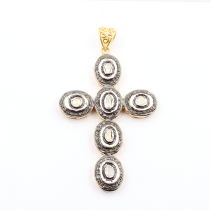 1 PC Pave Diamond Cross With Rose Cut Diamond Pendant - 925 Sterling Vermeil Diamond Pendant 69mmx45mm PD246