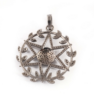 1 Pc Pave Diamond Twig Round Center In Star Pendant Over 925 Sterling Silver- 38mmx35mm PD1165