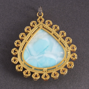 1 Pc Antique Finish Pave Diamond Larimar With Multi Sapphire Pendant - Yellow Gold Vermeil - Necklace Pendant 48mmx43mm PD1200