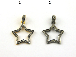 1 Pc Pave Diamond Star Pendant- Diamond Star Pendant  21mmx18mm PD169