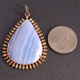 1 Pc Antique Finish Blue Lace Agate With Multi Sapphire Pendant - Rose Gold Vermeil - Necklace Pendant 50mmx36mm PD1209
