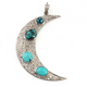 1 Pc Antique Finish Pave Diamond With Mohave Turquoise Crescent Moon Pendant - 925 Sterling Silver - Necklace Pendant 59mmx15mm PD612