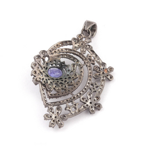 1 Pc Pave Diamond With Tanzanite 925 Sterling Silver Pendant- Filigree Design Pendant 43mmx31mm PD527
