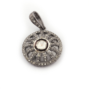 1 Pc Pave Diamond With Rose cut Diamond Round Pendant -925 Sterling Silver-Vermeil - Polki Pendant 23mmx19mm PD519