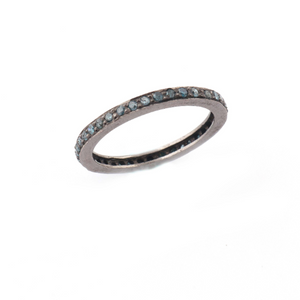 1 Pc Blue Diamond Round Band Ring- 925 Sterling Silver, Oxidized Ring- Antique Jewelry, Women Ring RD397