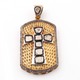 1 Pc Designer Pave Diamond With Rose Cut Diamond Cross Pendant - 925 Sterling Vermeil - Polki Pendant 48mmx28mm PD1596