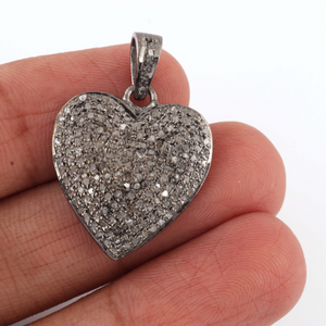 1 Pc Genuine Pave Diamond Heart Pendant - 925 Sterling Silver/ Vermeil -Beautiful Love Pendant 22mmx19mm PD934