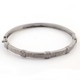 Pave Diamond Designer Bangle - Oxidized Sterling Silver Bangle with Lock - Sparky Diamonds Size : 2.5 BD166