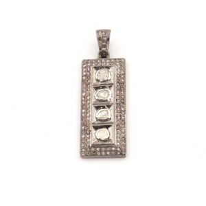 1 Pc Pave Diamond Rectangle Bar Rose Cut Diamond Pendant - Diamond Bar - Polki Pendant 32mmx12mm PD273