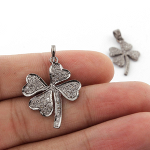 1 Pc Pave Diamond Leaf 925 Sterling Silver Pendant-- Leaf Pendant 28mmx21mm PD165