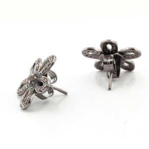 1 Pair Beautiful Pave Diamond Flower Stud With Back Stopper-925 Sterling Silver Designer Stud Earring 18mm ED056