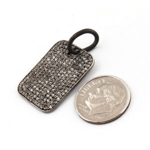 1 Pc Pave Diamond Dog Tag Pendant Over 925 Sterling Silver -Rectangle Pendant 24mmx18mm PD931