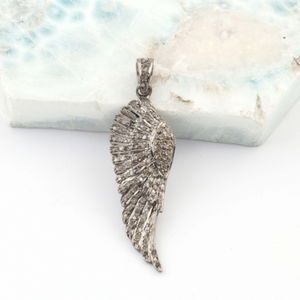 1 Pc Pave Diamond Feather Pendant -925 Sterling Silver - Wing Pendant 36mmx12mm PD1152