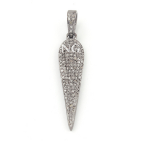 1 Pc Pave Diamond Spike Pendant Over 925 Sterling Silver - Necklace Pendant 38mmx9mm PD1008