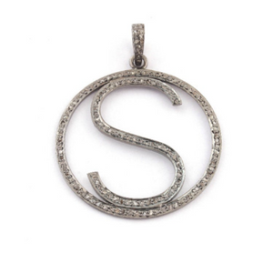 "1 PC Pave Diamond Letter ""A,D,F,H,J,K,S"" Round Shape Pendant Over 925 Sterling Silver - 38mmx35mm PD308"