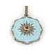 1 Pc Pave Diamond Light Blue Bakelite Flower With Leamon Quartz in Center Pendant - 925 Sterling Silver 33mmx30mm PD1021